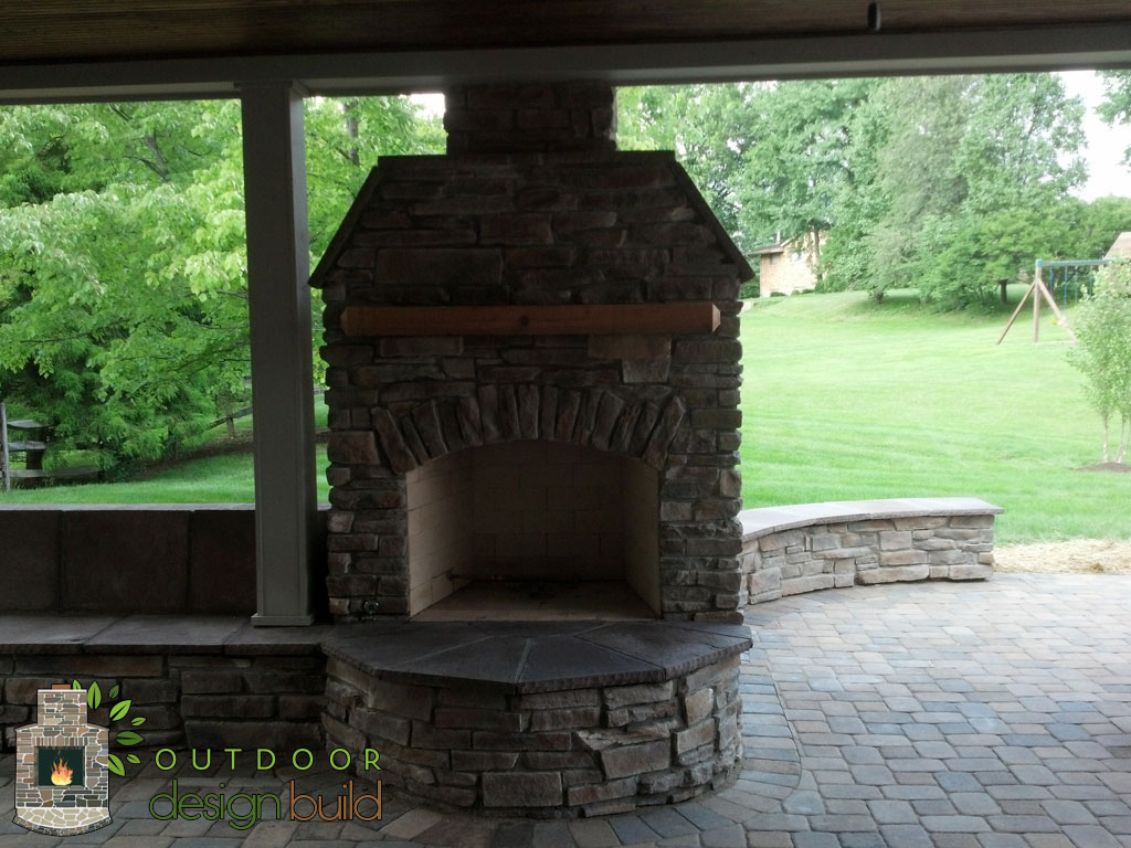 Patio W Roof Seating Wall Fireplace Outdoor Design Build