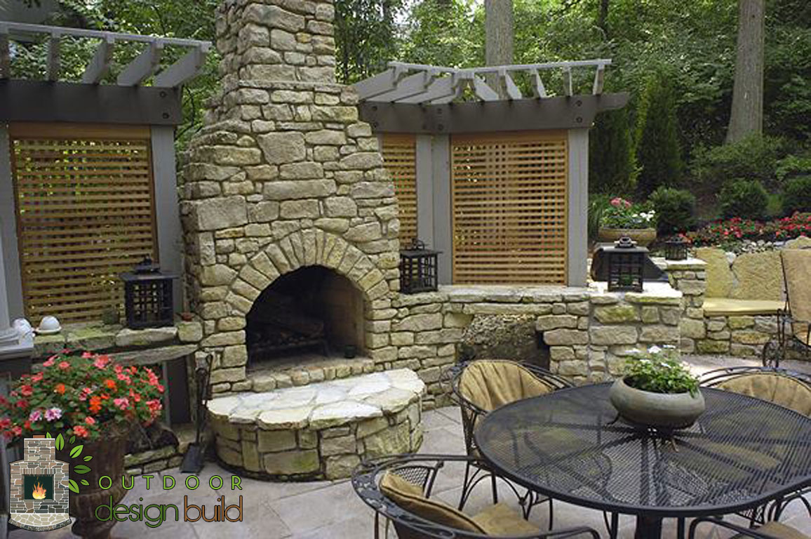 Cincinnati outdoor fireplace for Exterior garden designs