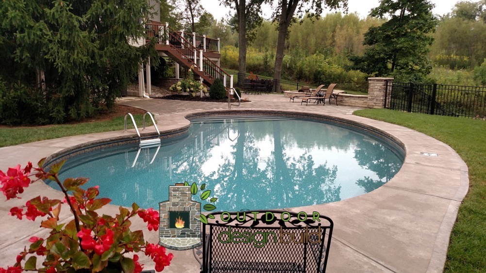 Cincinnati fire pit design for Backyard makeover with pool