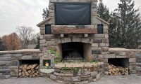Cincinnati Outdoor Fireplace with TV